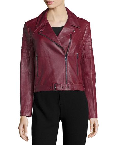 Asymmetric Zip-Front Leather Moto Jacket, Bordeaux
