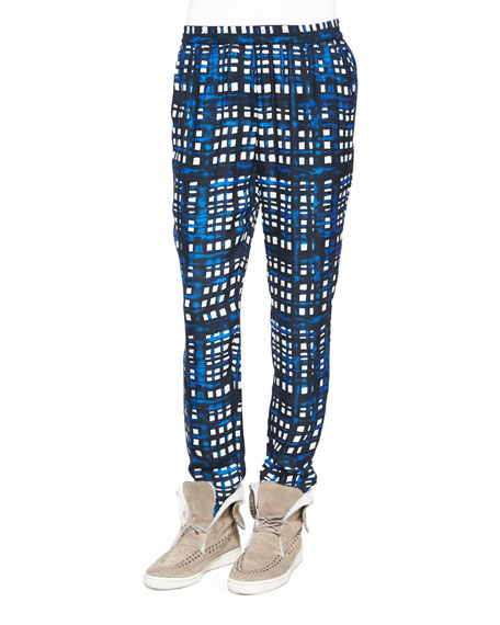 Plaid Straight-Leg Silk-Blend Pants