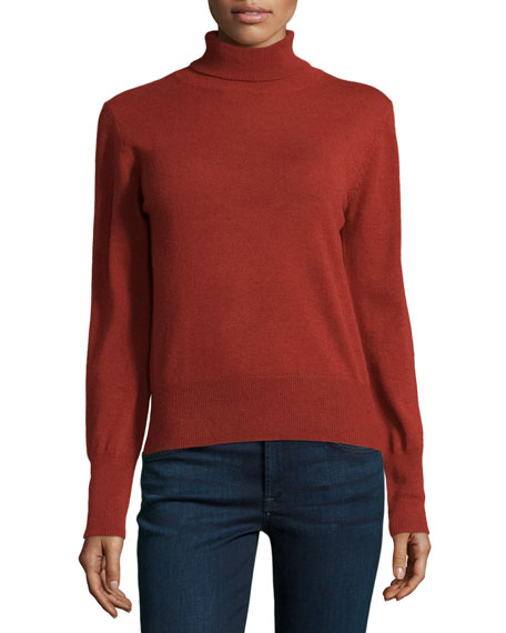 Long-Sleeve Turtleneck Sweater, Brick
