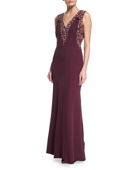 Sleeveless Embellished Mermaid Gown, Amethyst