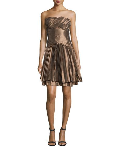 Strapless Plisse Cocktail Dress, Bronze