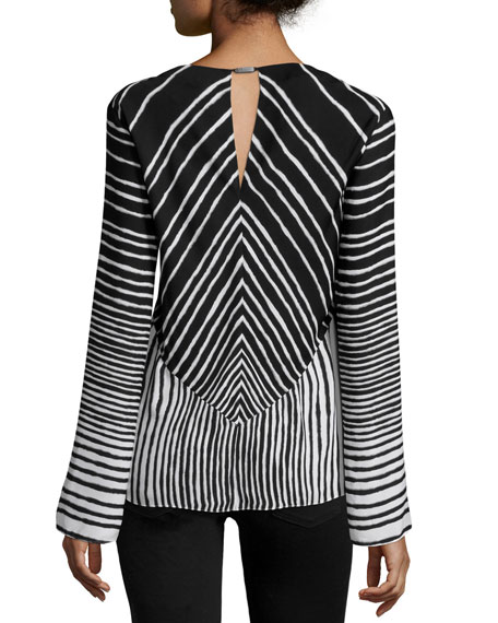 Long-Sleeve Striped Top, Black/Bone