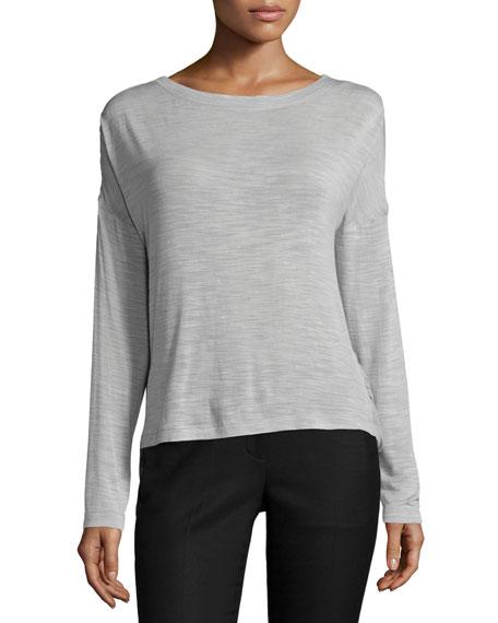 Long-Sleeve Semisheer Top, Mist