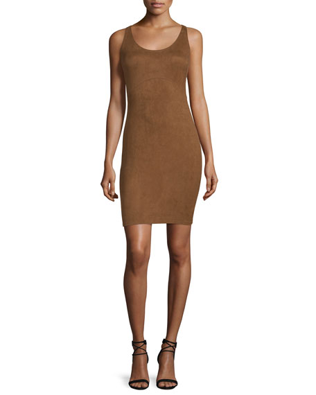 Sleeveless Round-Neck Sheath Dress, Rust