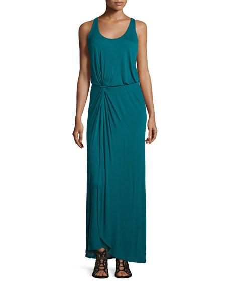 Sleeveless Twist-Front Maxi Dress, Dark Emerald