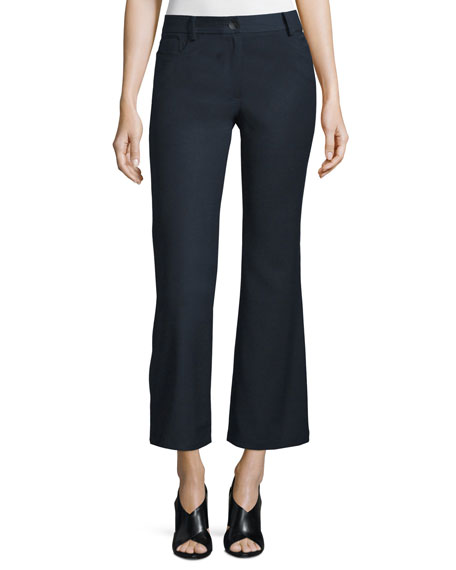 Loren Flare-Leg Cropped Pants, Midnight Navy