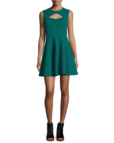 Brynn Sleeveless Fit-&-Flare Dress, Fern Green