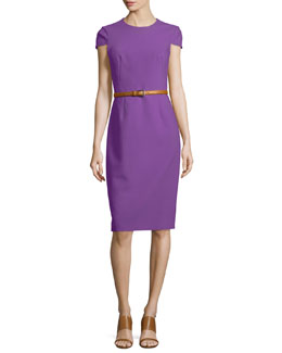 Belted Origami Sheath Dress, Lilac