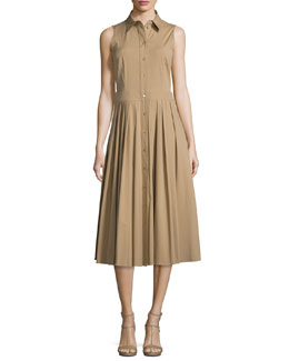 Sleeveless Pleated-Skirt Shirtdress, Fawn