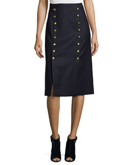Button-Front Mid-Rise Pencil Skirt, Navy
