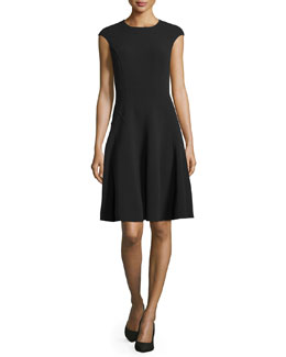 Cap-Sleeve Fit-&-Flare Dress, Black