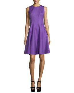 Sleeveless Fit-&-Flare Dress, Lilac