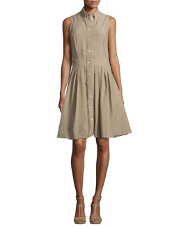 Sleeveless Button-Front Shirtdress, Sand