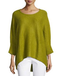 Dolman-Sleeve Round-Neck Sweater, Leaf