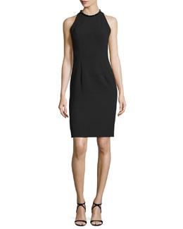 Sleeveless Sheath Dress W/Back Cutouts, Black