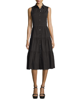 Sleeveless Button-Front Midi Shirtdress, Black