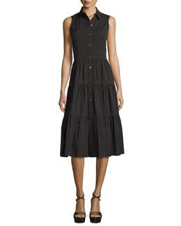 Sleeveless Button-Front Midi Shirtdress, Black