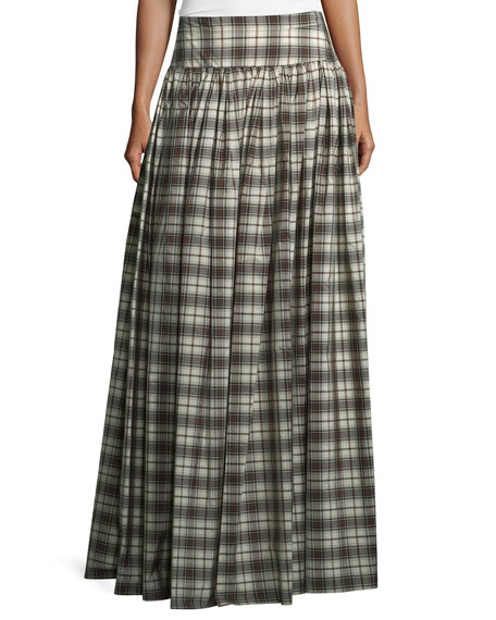 Banded-Waist Plaid Hostess Skirt, Muslin/Black