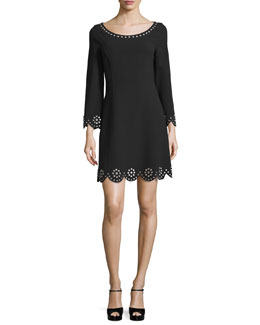 Quarter-Length Sleeve Eyelet-Trim Shift Dress, Black
