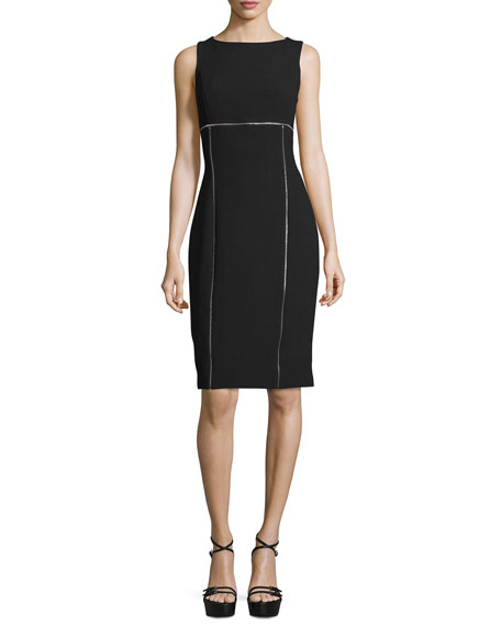 Sleeveless Contrast-Piping Sheath Dress, Black
