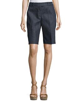 Flat-Front Mid-Rise Bermuda Shorts, Indigo