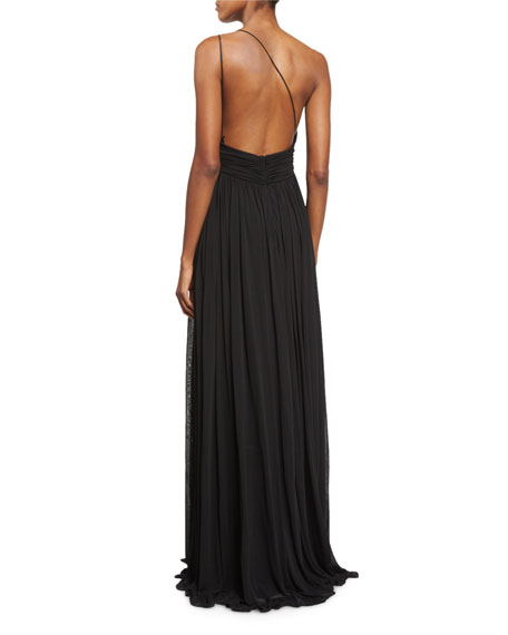 Cap-Sleeve Funnel-Neck Maillot Gown, Black