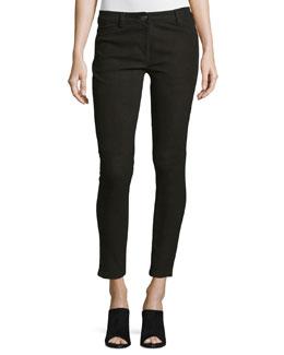 Five-Pocket Skinny-Leg Leather Jeans, Black