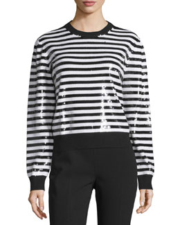 Long-Sleeve Striped-Sequin Top, Black/White