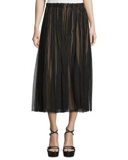 Mid-Rise Plisse Midi Skirt, Black