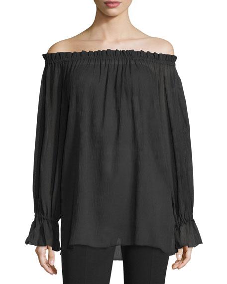 Off-The-Shoulder Long-Sleeve Top, Black