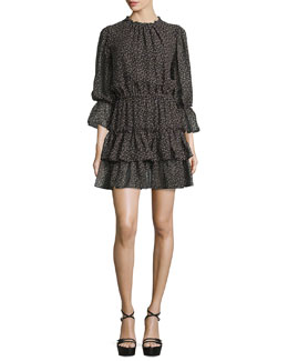 Long-Sleeve Tiered Ruffle Dress, Black/Oleander