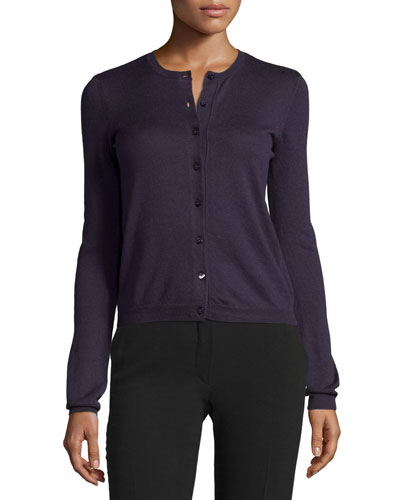 Long-Sleeve Button-Front Cardigan, Viola