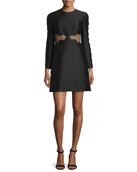 Long-Sleeve Sheer-Inset Scalloped Dress, Black