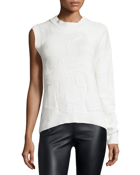 Mosaic One-Sleeve Top, White