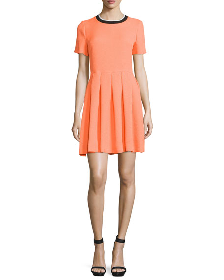 Ethan Boxy Short-Sleeve Dress, Poppy