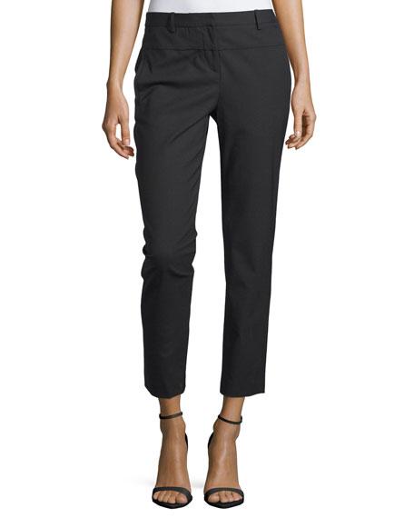 Slim Cropped Wool-Blend Pants, Black