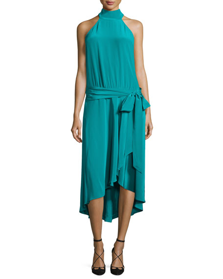 Halter-Neck Waist-Tie Dress, Turquoise