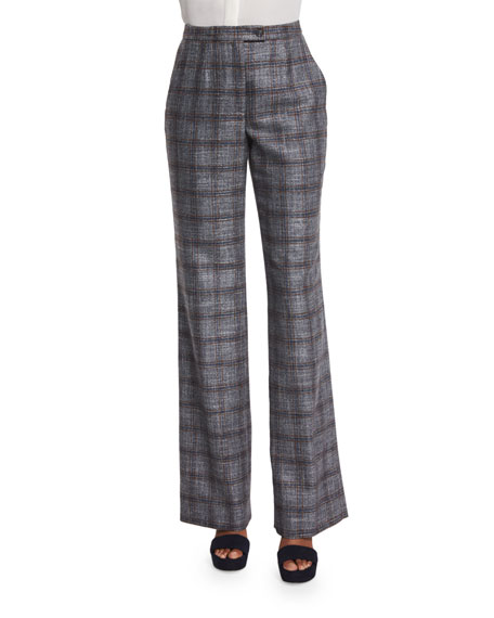 Straight-Leg Plaid Pants, Navy/Copper