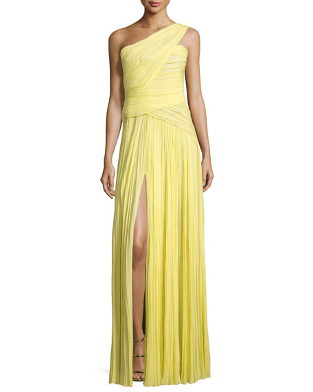 One-Shoulder Plisse Gown, Yellow Cab