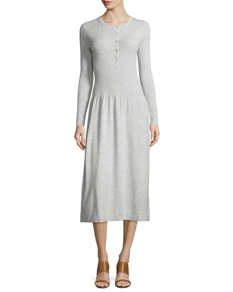 Long-Sleeve Henley Dress, Pearl Melange
