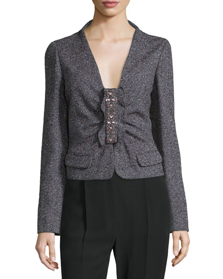 Long-Sleeve Embellished-Front Jacket, Purple/Multi
