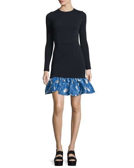 Tate Long-Sleeve Mini Dress, Black