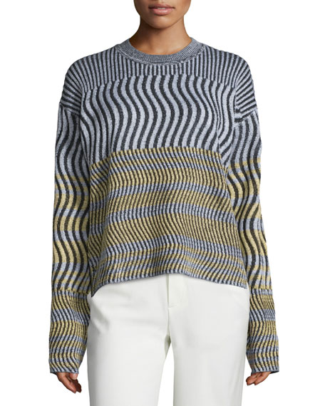Long-Sleeve Ribbed-Wave Top, Summer Yellow/Multi