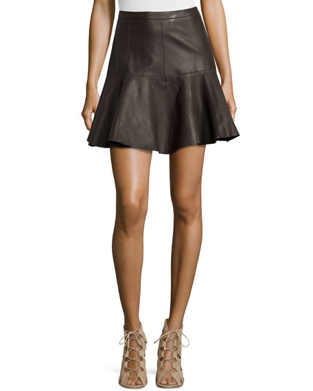 Flared Leather Skirt, Earth