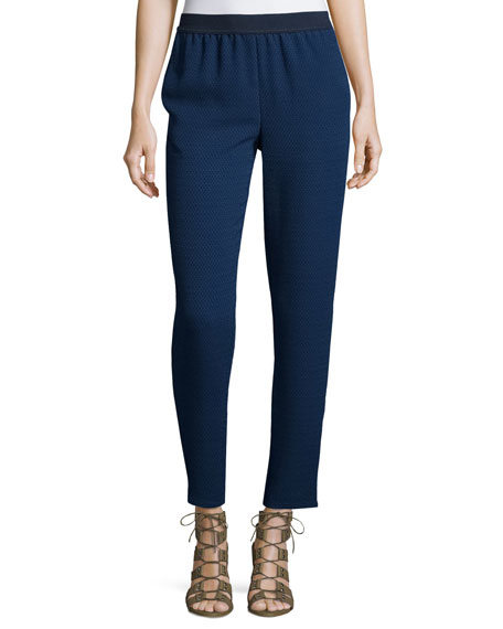 Jacquard Ankle Pants, Navy