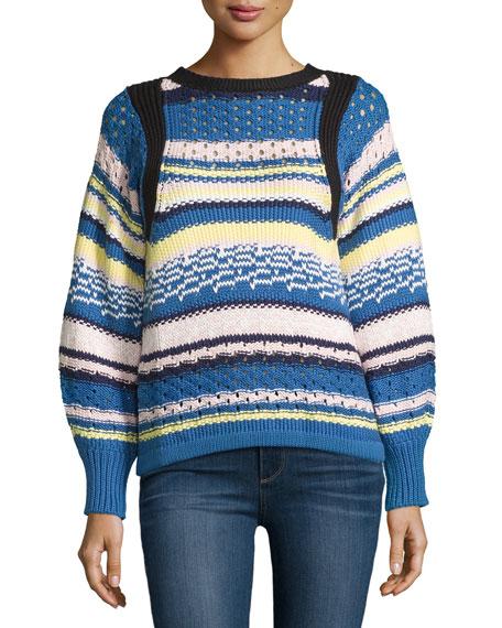 Jewel-Neck Striped Sweater, Pink/Blue