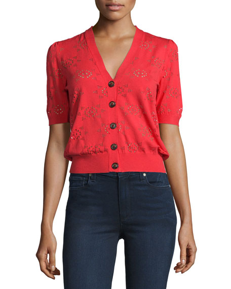 Short-Sleeve Button-Front Lace Cardigan, Red
