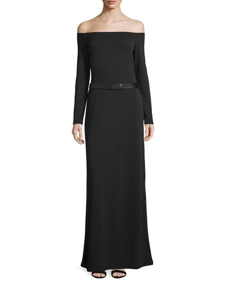 Off-The-Shoulder Belted Evening Gown, Black