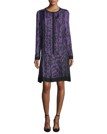 Long-Sleeve Printed Dress, Violet/Noir