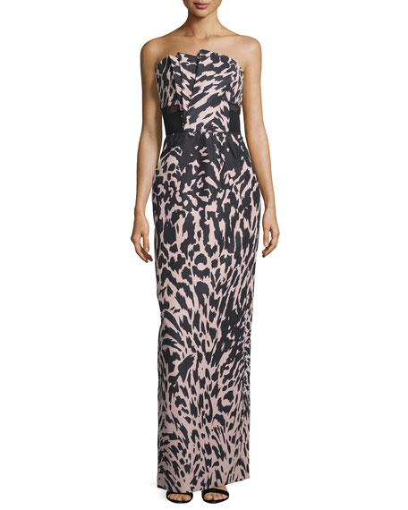Strapless Feline-Print Column Gown, Kitten Pink/Noir